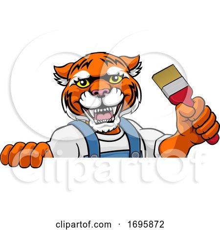 Tiger Painter Decorator Holding Paintbrush Posters, Art Prints