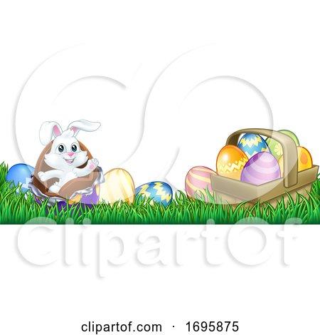Easter Bunny Rabbit Chocolate Eggs Cartoon by AtStockIllustration
