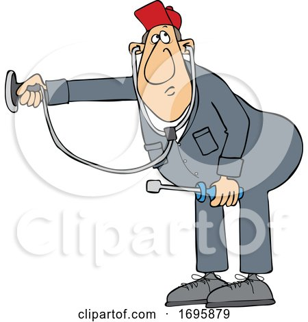Cartoon HVAC Worker Holding a Stethoscope by djart