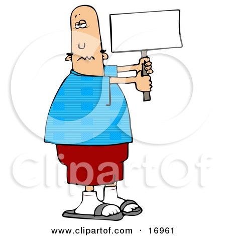 People Clipart Illustration Image of a Patriotic Bald Caucasian Man In A Blue Shirt With An American Flag Pattern Holding A Blank White Sign by djart