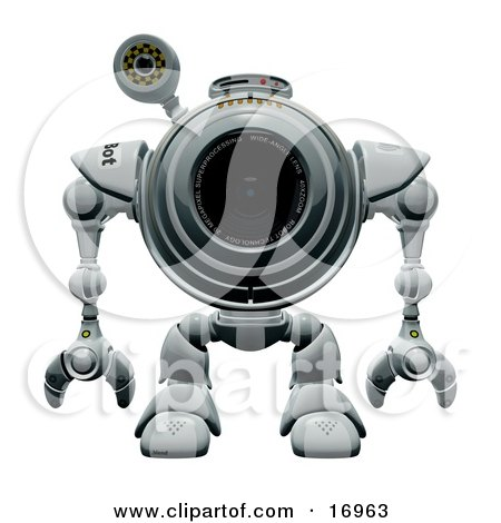 Technology Clipart Illustration Image of a Webcam Robot Standing Still and Facing Front by Leo Blanchette