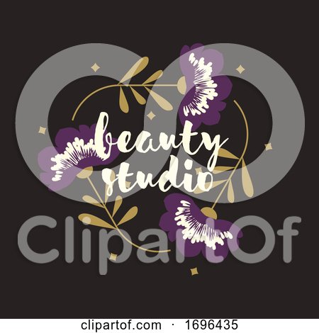 Vector Logo Design Template in Modern Style of Triangular Floral Frame with Purple Flowers and Copy Space for Text. Elegant Emblem for Fashion Boutique, Beauty Studio or Jewelry Salon by elena