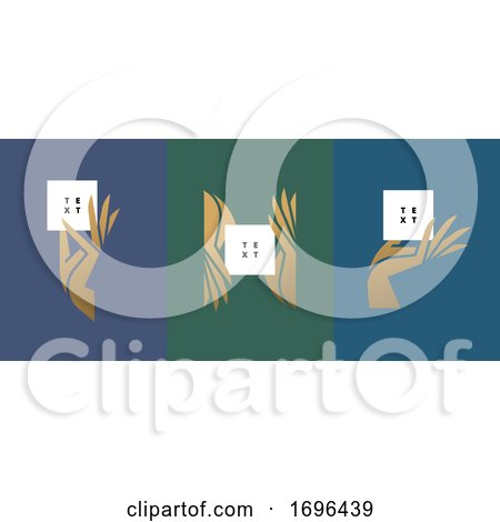 Vector Illustration in Trendy Minimal Style of Elegant Hand Holding White Blank Paper Card with Big Copy Space for Any Logo or Text by elena