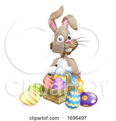 Easter Bunny Eggs Basket Cartoon by AtStockIllustration