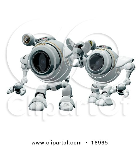 Technology Clipart Illustration Image of Two Robotic Webcams Standing in Line by Leo Blanchette
