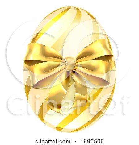 Easter Egg Gold Bow Ribbon Design Posters, Art Prints