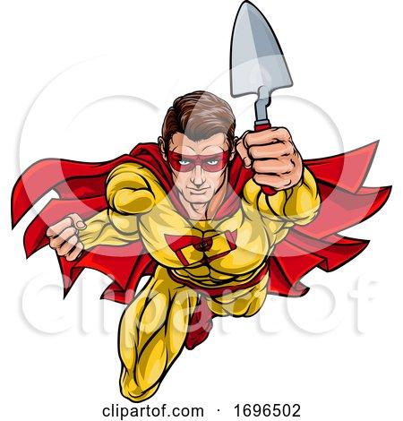 Super Bricklayer Builder Superhero Holding Trowel by AtStockIllustration