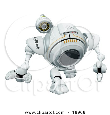 Technology Clipart Illustration Image of a Robotic Webcam Walking by Leo Blanchette