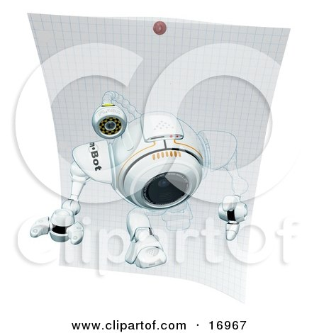 Technology Clipart Illustration Image of a Robotic Webcam Stepping Out of a Drawing on Graph Paper by Leo Blanchette