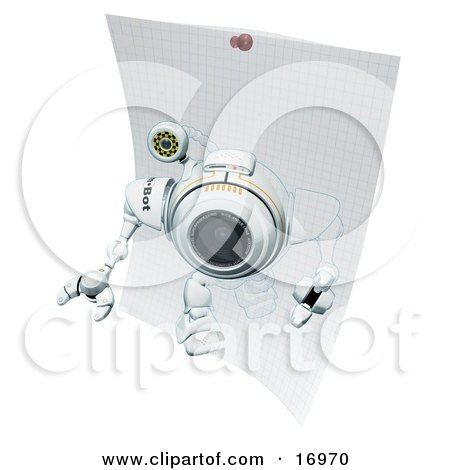 Technology Clipart Illustration Image of a Robotic Webcam Robot Stepping Out of a Drawing on Graph Paper by Leo Blanchette