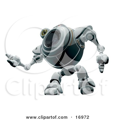 Technology Clipart Illustration Image of a Robotic Webcam Looking Upwards While Watching by Leo Blanchette
