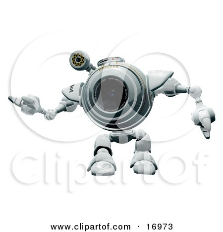 Technology Clipart Illustration Image of a Friendly Robotic Webcam Waving or Dancing by Leo Blanchette