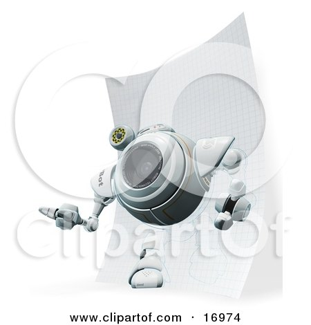 Technology Clipart Illustration Image of a Webcam Robot Stepping Out of a Drawing on Graph Paper by Leo Blanchette