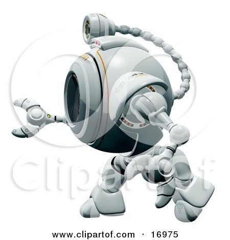 Technology Clipart Illustration Image of a Robotic Webcam in Profile, Facing to the Left by Leo Blanchette