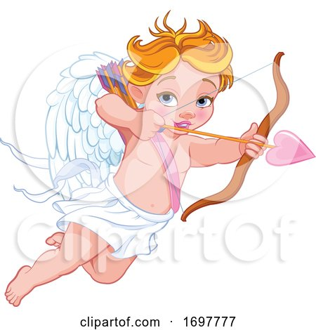 Flying Baby Cupid Aiming an Arrow by Pushkin