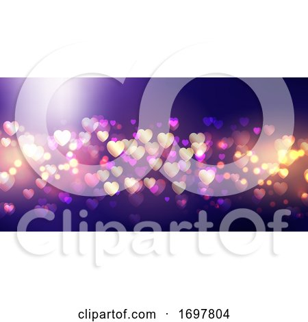 Bokeh Lights Valentine's Day Banner Posters, Art Prints
