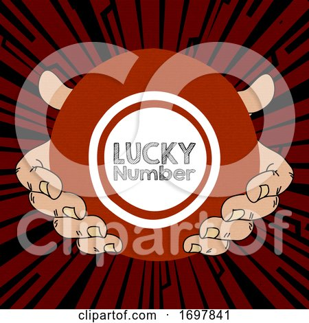 Hand Drawn Pair of Hands and Lucky Number Bingo Lotto Ball by elaineitalia