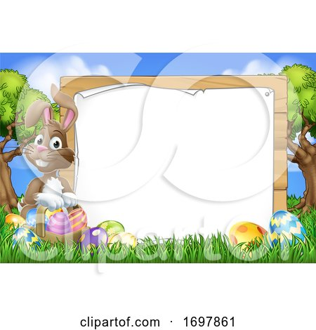 Easter Bunny Sign Eggs Basket Background Cartoon Posters, Art Prints