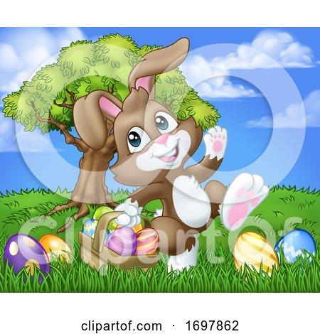 Easter Bunny Rabbit Eggs Basket Background Cartoon by AtStockIllustration
