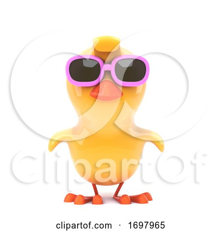 Chick Wearing Pink Sunglasses Posters, Art Prints