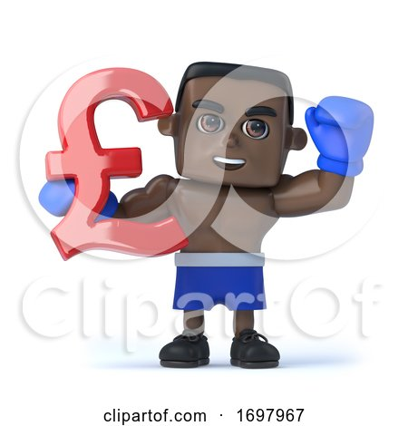 3d Black Boxer Holds UK Pounds Sterling Currency Symbol by Steve Young