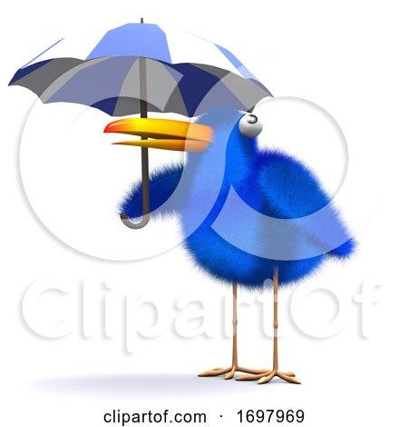 3d Bluebird Umbrella Posters, Art Prints