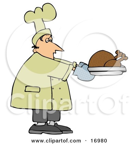 People Clipart Illustration Image of a Male Caucasian Chef Carrying A Cooked Turkey On A Tray And Trying Not To Fall Asleep While Working by djart