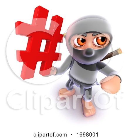 3d Funny Cartoon Ninja Warrior Assassin Character Holding a Hashtag Internet Symbol by Steve Young