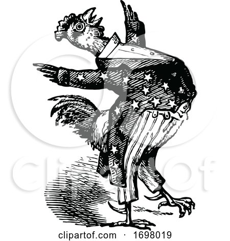 Retro Vintage Black and White Patriotic American Rooster by Prawny Vintage