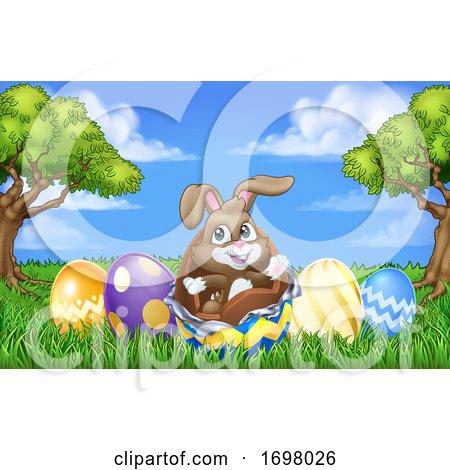 Easter Bunny Rabbit Breaking Chocolate Egg Scene Posters, Art Prints