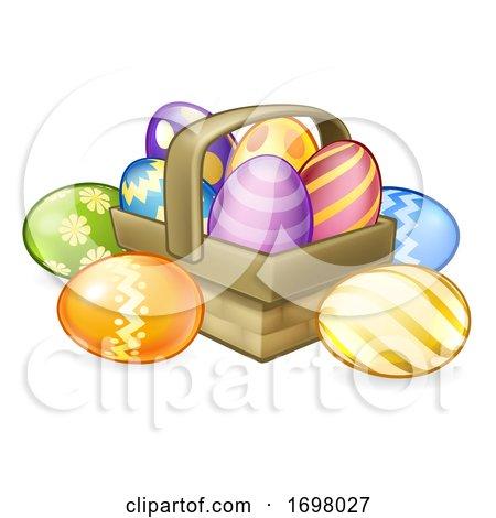 Easter Eggs Basket Hamper Cartoon Posters, Art Prints