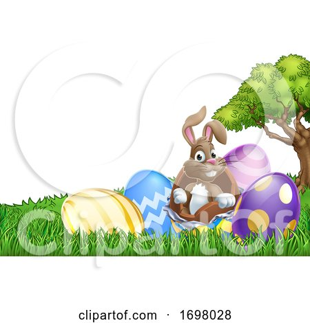 Easter Bunny Rabbit Breaking out of Egg Cartoon Posters, Art Prints