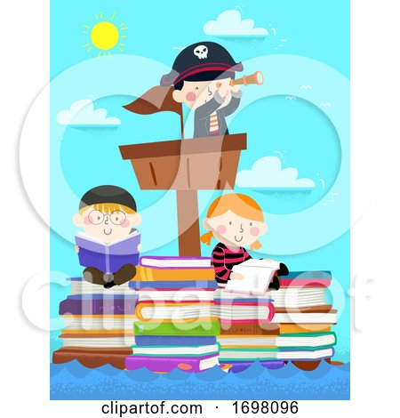 Kids Pirates Sail Stack Books Read Illustration by BNP Design Studio