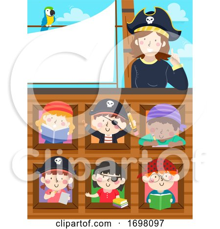 Kids Pirate Study Ship Teacher Parrot Illustration by BNP Design Studio