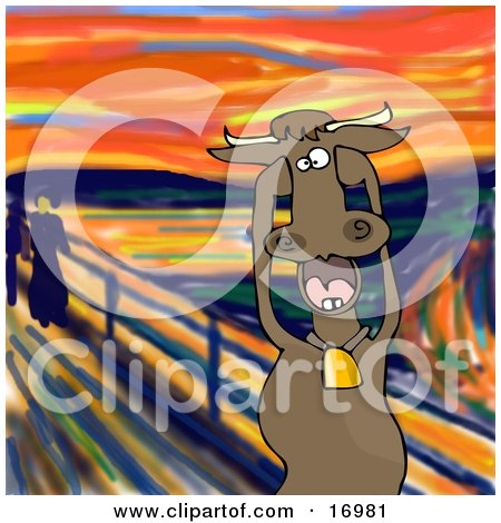 Animal Clipart Illustration Image of a Stressed Out Brown Dairy Cow Holding its Hooves to its Cheeks While Screaming, a Humorous Parody of The Scream by Edvard Munch by djart