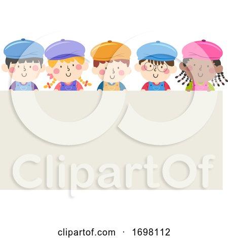 Kids Painters Caps Apron Board Illustration Posters, Art Prints