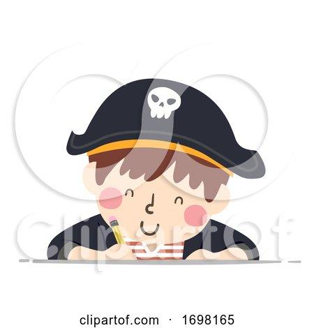 Kid Boy Pirate Write Pencil Illustration by BNP Design Studio