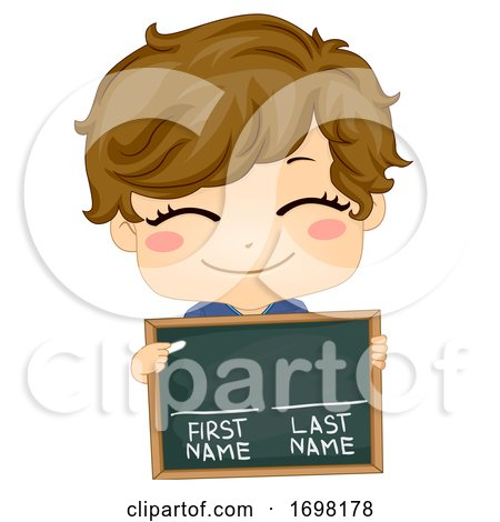 Kid Boy Chalkboard First Last Name Illustration by BNP Design Studio