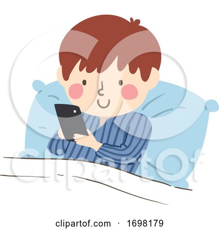 Kid Boy Bed Cell Phone Illustration by BNP Design Studio