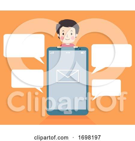 Teen Guy Phone Message Speech Bubbles Illustration by BNP Design Studio