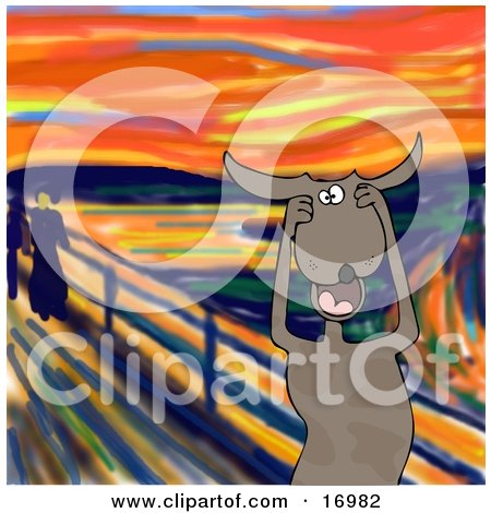 Animal Clipart Illustration Image of a Stressed Out Brown Dog Holding His Paws to His Cheeks While Screaming, a Humorous Parody of The Scream by Edvard Munch by djart