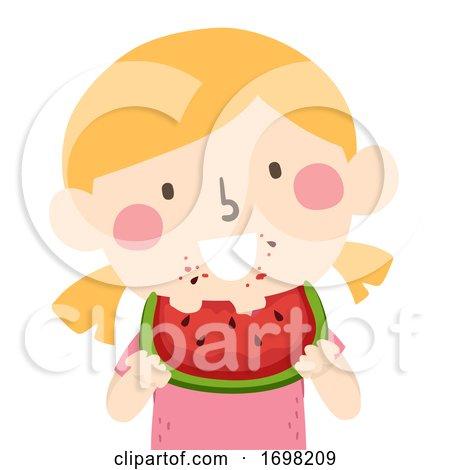 Kid Girl Eating Watermelon Illustration by BNP Design Studio