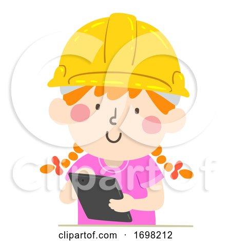 Kid Girl Hard Hat Tablet Illustration by BNP Design Studio