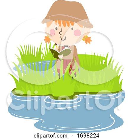 Kid Girl Wetland Explore Observation Illustration by BNP Design Studio