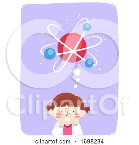 Kid Girl Think Atom Science Illustration by BNP Design Studio