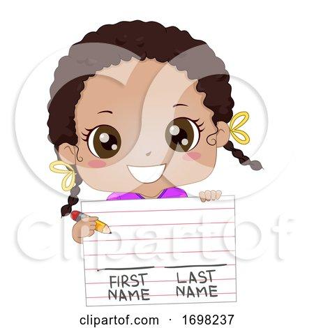 Kid Girl Black Paper Write First Last Name by BNP Design Studio
