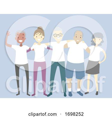 People Reunion White Shirts Illustration Posters, Art Prints