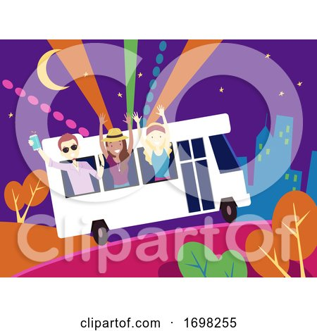 People Party Bus Design Illustration by BNP Design Studio