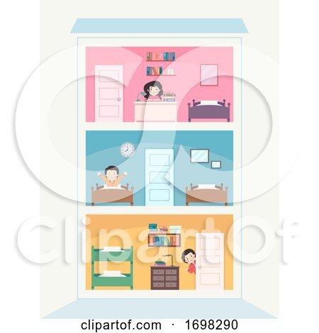 Teens Building Rooms Illustration by BNP Design Studio