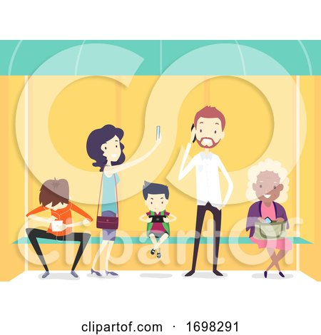 People Using Mobile Phone Bus Stop Illustration by BNP Design Studio